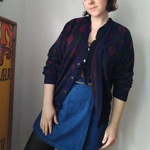 Vintage distressed argyle cardigan